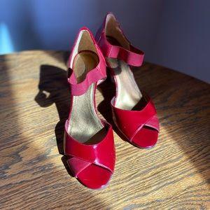 Circa Joan & David Red Peep Toe Leather Pump
